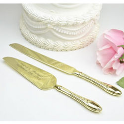 Personalized Gold Plated Classic Cake Knife and Sever Set