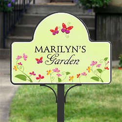 Floral Welcome Personalized Garden Yard Stake