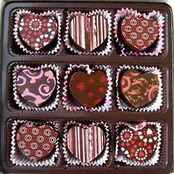 9 Heart Shaped Dark Chocolate Truffle Assortment