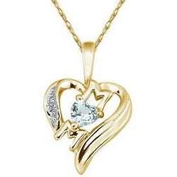 Aquamarine and Diamond Heart Mom Pendant