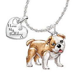 Bulldog Playful Pup Diamond Pendant Necklace