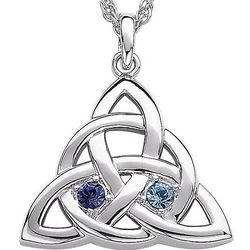 Couple's Personalized Birthstone Celtic Knot Pendant