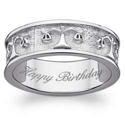 Sterling Silver Libra Zodiac Engraved Band