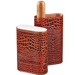 3 Finger Cognac Crocodile Pattern Leather Horn Top Cigar Case