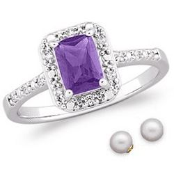 Platinum Plated Amethyst and Cubic Zirconia Ring with Earrings