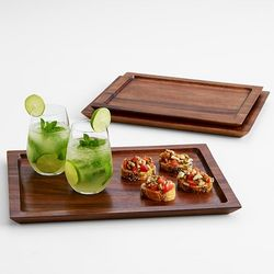 Nested Acacia Wood Serving Trays