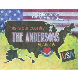 Our Country Personalized Wall Art 14x11 Print