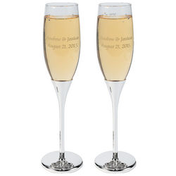 Personalized Floating Crystal Wedding Flutes
