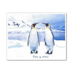Emperor Penguin Love Personalized Watercolor Print