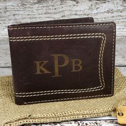 Men's Monogrammed Leather Wallet with Contrasting Stitching