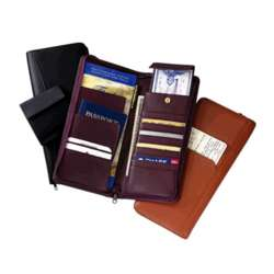 Leather Travel Document Case with Zipper Closure
