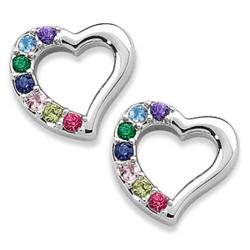 Platinum Plated Mother's Birthstone Heart Earrings