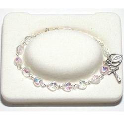 Crystal Heart Rosary Bracelet for Girls