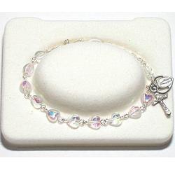 Crystal Heart Rosary Bracelet for Girls