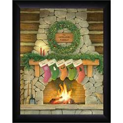 Personalized Family Christmas Fireplace Framed Print