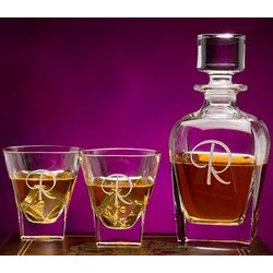 Personalized Fusion Crystal Decanter & Rock Glasses Set