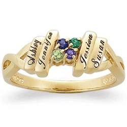 Gold Over Sterling Family Name And Birthstone Ring