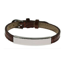 Engraved Brown Leather ID Bracelet