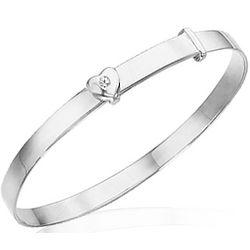 Silver Heart Adjustable Baby Bangle Bracelet