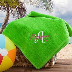 Lime Green Kid's Personalized Beach Towel