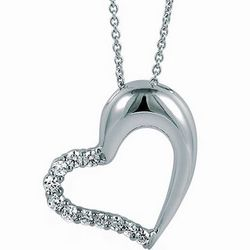 Sterling Silver Necklace Cubic Zirconia Open Heart Pendant