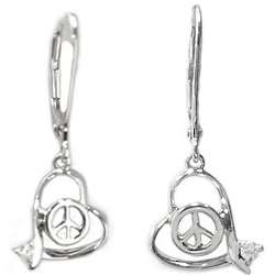 14K White Gold Abstract Heart Diamond Peace Sign Earrings