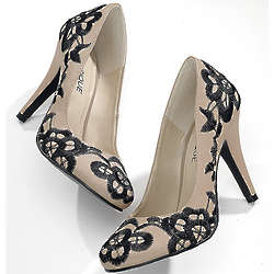 Lace Pattern Embroidered Pumps