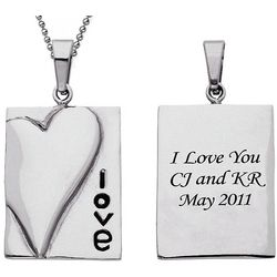 Personalized Stainless Steel Love Pendant