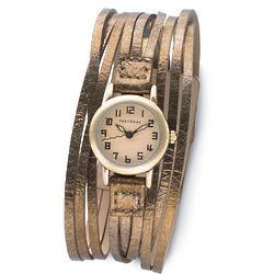 Metallic Leather Multi-Strand Watch