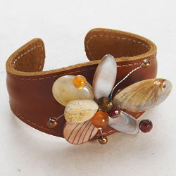 Leather Cuff Bracelet with Stone Flower