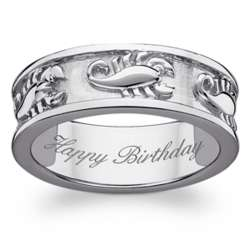 Sterling Silver Scorpio Zodiac Engraved Band