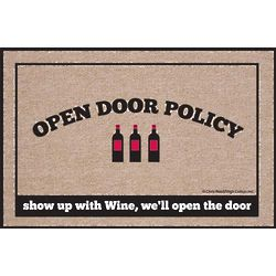 Wine Open Door Policy Doormat