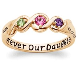 Gold Over Sterling Daughters Name and Date Birthstone Ring