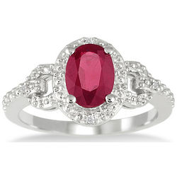 Created Ruby and Diamond Ring in Sterling Silver