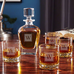 Personalized Block Monogram Whiskey Decanter and Glasses