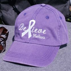 Personalized Embroidered Believe Awareness Purple Hat