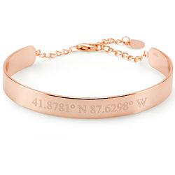 Custom Coordinate Adjustable Rose Gold Cuff Bracelet