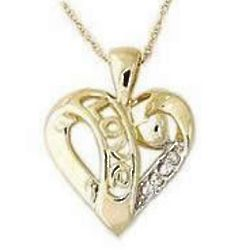 Gold and Diamond LOVE Engraved Heart Pendant