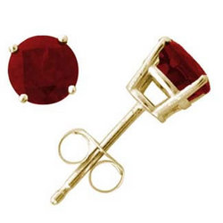 5mm Round Ruby Earrings in 14k Yellow Gold