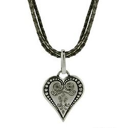Bali Style Heart Necklace on Triple Strand Chain