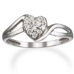 Diamond Heart and 14k White Gold Promise Ring