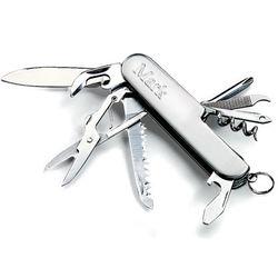 Nine Tool Engraved Silver Pocket Knife