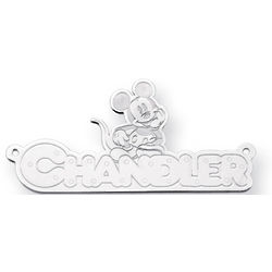 14K White Gold Personalized Mickey Mouse Name Pendant