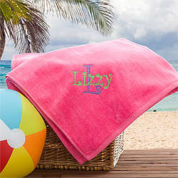 Flamingo Pink Girl's Personalized Pink Beach Towel