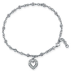 Sterling Silver Ankle Bracelet with Cubic Zirconia Heart Charm