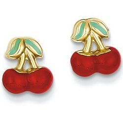 14K Gold Red Cherry Stud Earrings