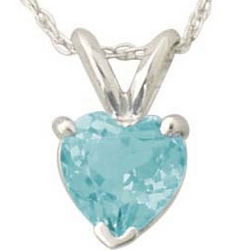 14K White Gold Heart-Shape Aquamarine Pendant