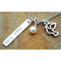 Bible Verse Peace Dove Charm Necklace