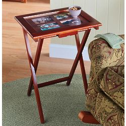 Folding Wood TV Trays with Storage Stand