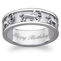 Sterling Silver Sagittarius Zodiac Engraved Band